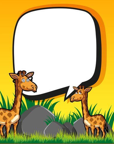 Modello di confine con giraffe in campo