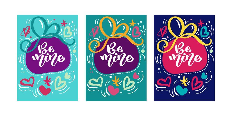 Text Seien Sie meine für Valentinstag-Grußkarte mit Herzen. Geschenkanhänger. Hand gezeichnete Herzen. Design für Valentinstag und Hochzeit. Memphis-Stil