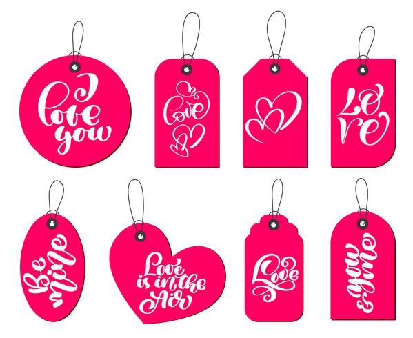 Samling av handgjorda söta presentetiketter med inskriptionen jag älskar dig. Alla hjärtans dag, äktenskap, bröllop, födelsedag, kärlek, romantiskt tema