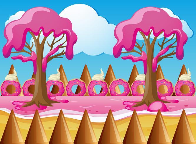 Terra de doces com árvores de creme de morango