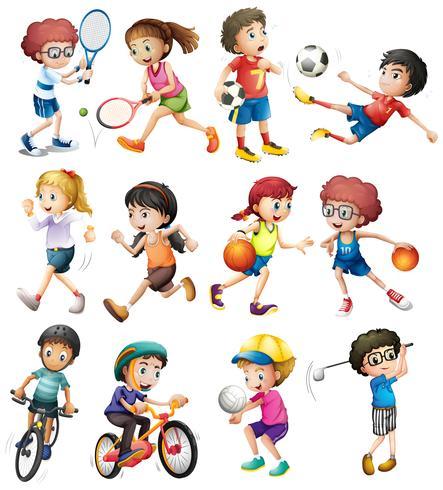 Niños haciendo diferentes deportes vector