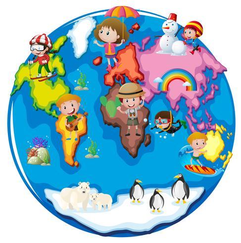 Niños en diferentes partes del mundo. vector