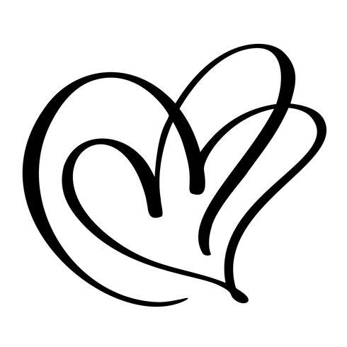 Twee geliefden hart. Handgemaakte vector kalligrafie. Decor voor wenskaart, foto overlays, t-shirt afdrukken, flyer, posterontwerp