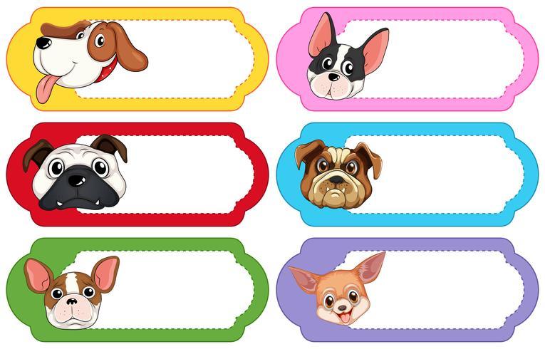 Diseño de etiquetas con lindos perros. vector