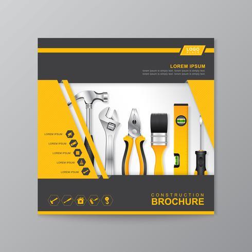 plantilla de cubierta de herramientas de construcción vector