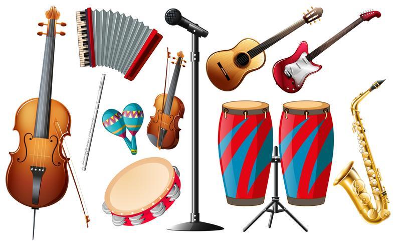 Diferentes tipos de instrumentos clásicos. vector