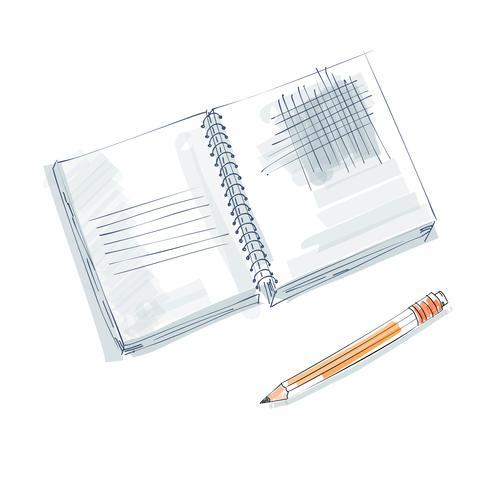 notebook doodle, primitive drawing hand. Pen and notebook paper. modern minimalism sketch art. Vector illustration