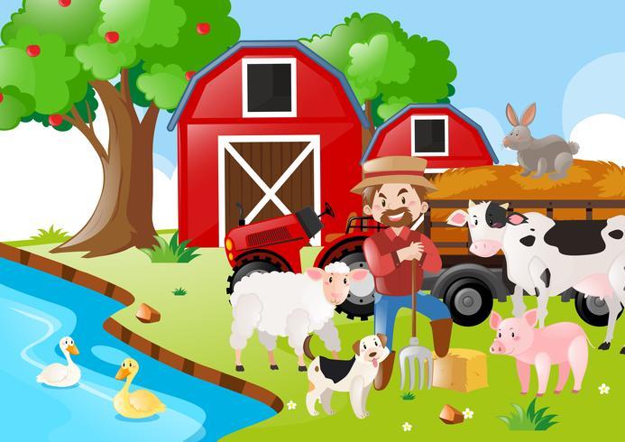 Scena dell'azienda agricola con contadino e animali vicino al fiume vettore