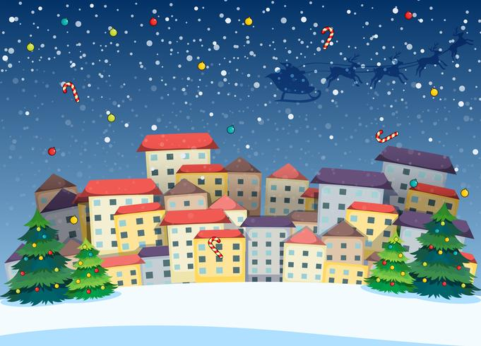 A village with christmas trees