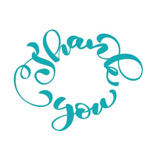 Dank u handgeschreven inscriptie in een cirkel. Hand getrokken belettering. Bedankt kalligrafie. Bedankt kaart. Vector illustratie