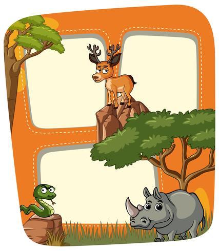 Rahmenvorlage mit wilden Tieren