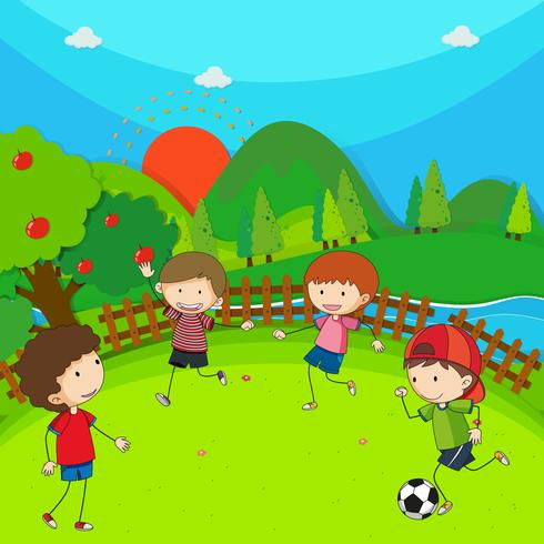 Four children playing football in the park vector