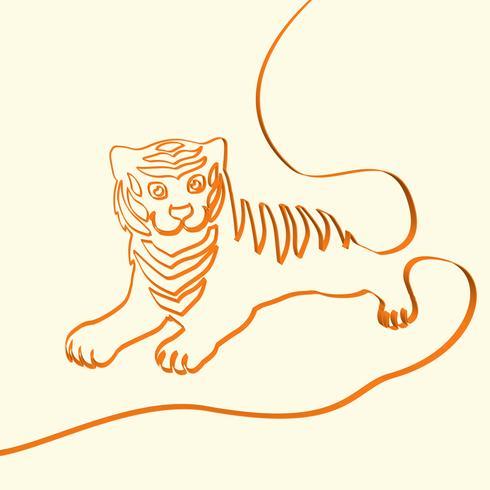 Illustration d'animaux de ligne 3D art tigre, illustration vectorielle vecteur