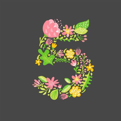 Blumensommer Nummer 5 fünf. Blume Hauptstadt Hochzeit Alphabet. Bunter Guss mit Blumen und Blättern. Vektorillustration skandinavische Art