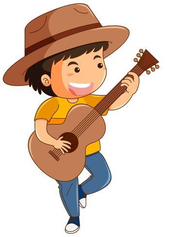Niño feliz tocando la guitarra vector