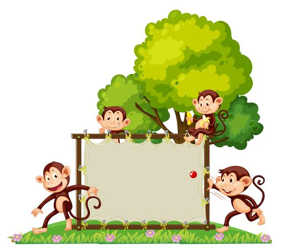 Een groep aap die bij de banner speelt