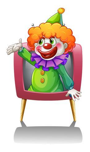 Un clown à l'intérieur d'une télévision rose