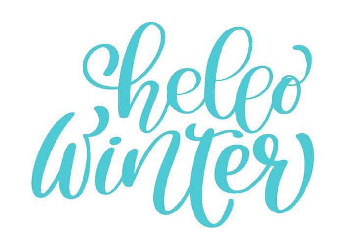 Tarjeta de caligrafía Hello Winter Merry Christmas con. Plantilla para saludos, felicitaciones, carteles de inauguración, invitaciones, superposiciones de fotos. Ilustración vectorial