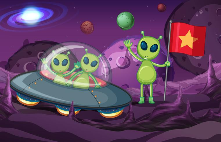 Aliens in UFO exploring space
