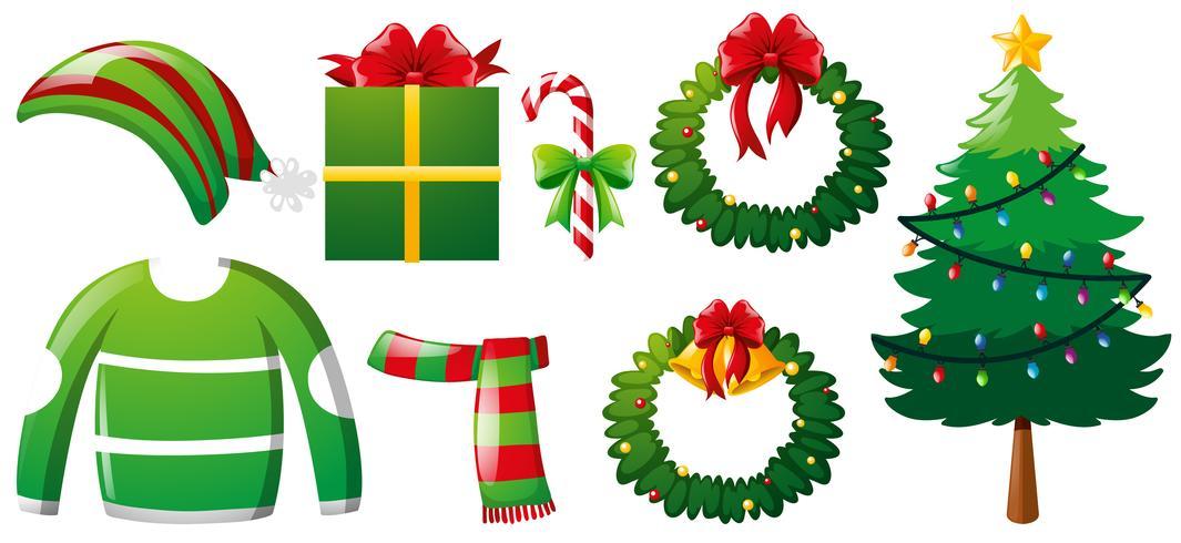 Weihnachten mit Baum und Kleidung gesetzt