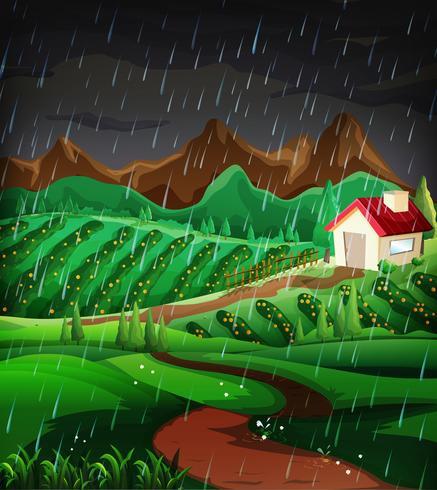 Aardscène met het regenen in de helling