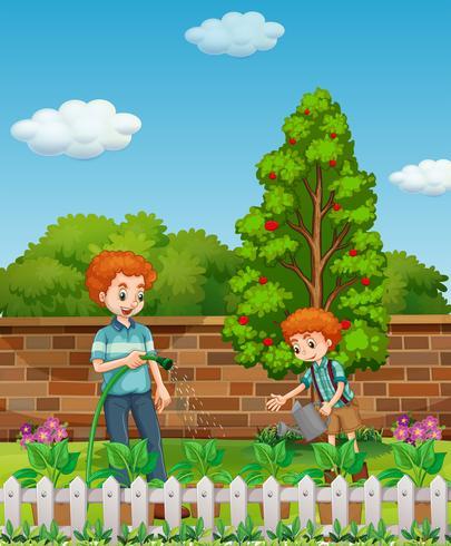 Padre e hijo regando las plantas en el jardín. vector