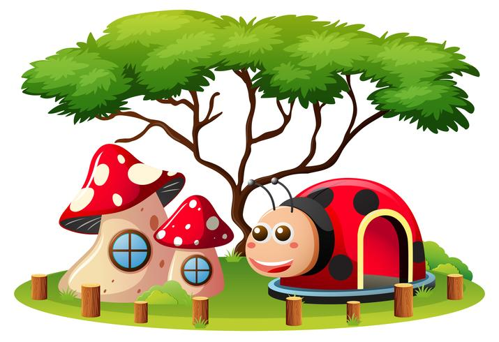 Scene with mushroom house and ladybug cave in playground