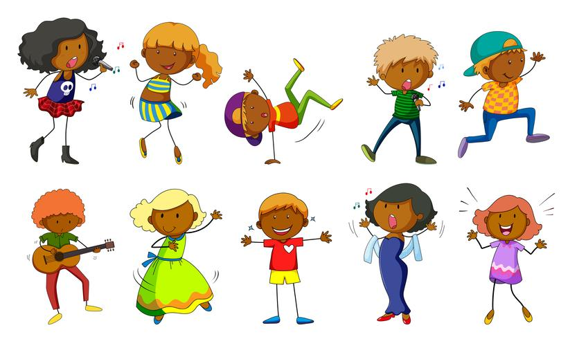 Conjunto de niños cantando y bailando. vector
