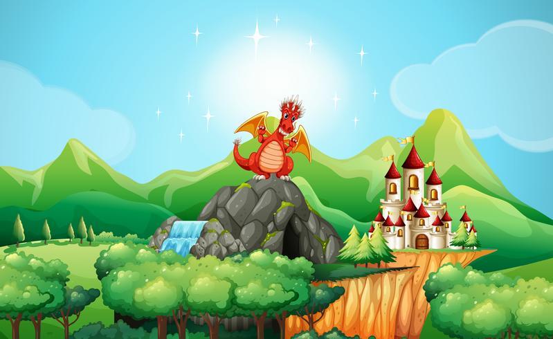 Dragón en la cueva junto al castillo.