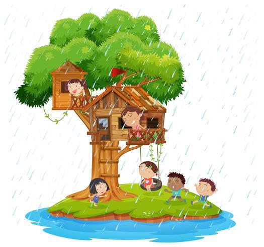Niños jugando en la casa del árbol en la isla. vector