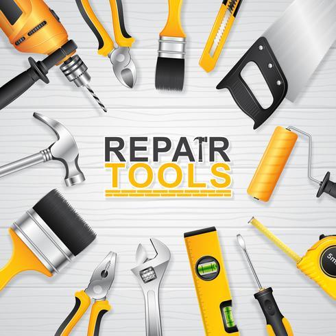 Establecer suministros de herramientas de construcción. vector