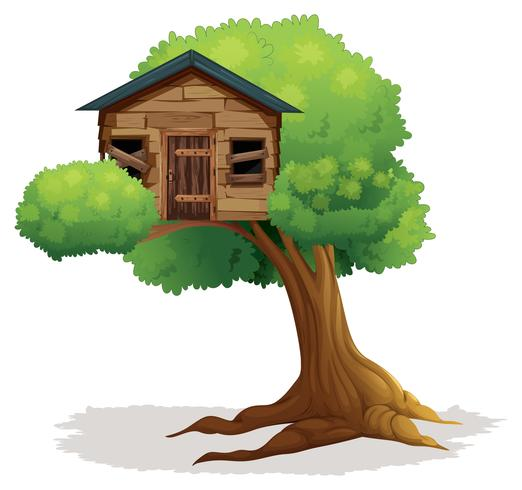 Wooden treehouse on the tree vector