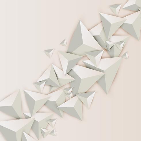 Triangles 3D abstraits sur fond clair, illustration vectorielle