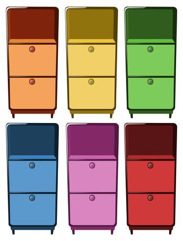 Skor i sex olika färger