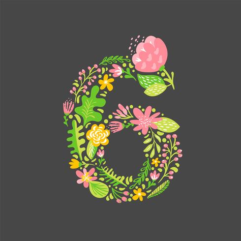 Blumensommer Nummer 6 sechs. Blume Hauptstadt Hochzeit Alphabet. Bunter Guss mit Blumen und Blättern. Vektorillustration skandinavische Art