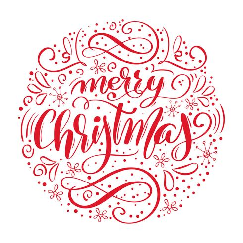 Merry Christmas handwritten text. Hand drawn calligraphy and lettering in form of circle. Vector illustration