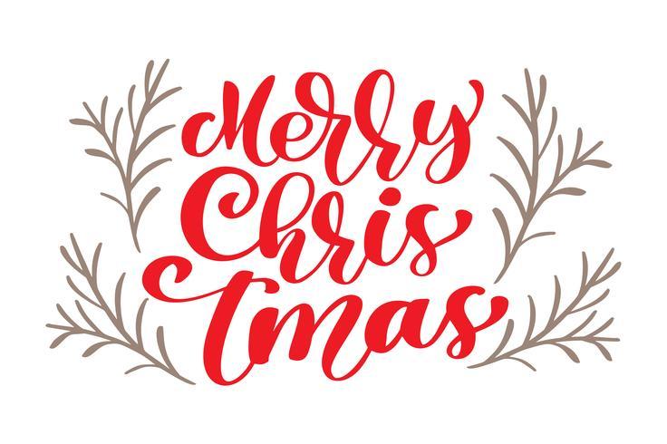 tekst Merry Christmas handgeschreven kalligrafie letters. handgemaakte vectorillustratie. Leuke penseelinkt typografie voor foto-overlays, t-shirt print, flyer, posterontwerp