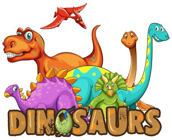Modello di adesivo con molti tipi di dinosauri