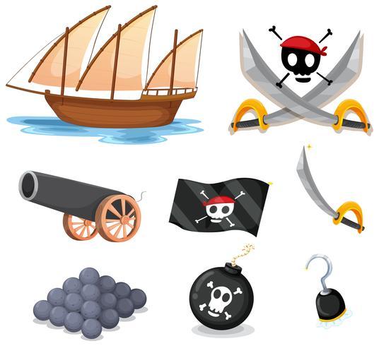Pirata conjunto com veleiro e armas