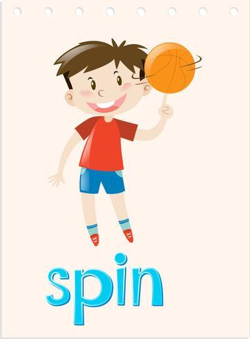 Aktion wordcard mit spinnender Kugel des Jungen