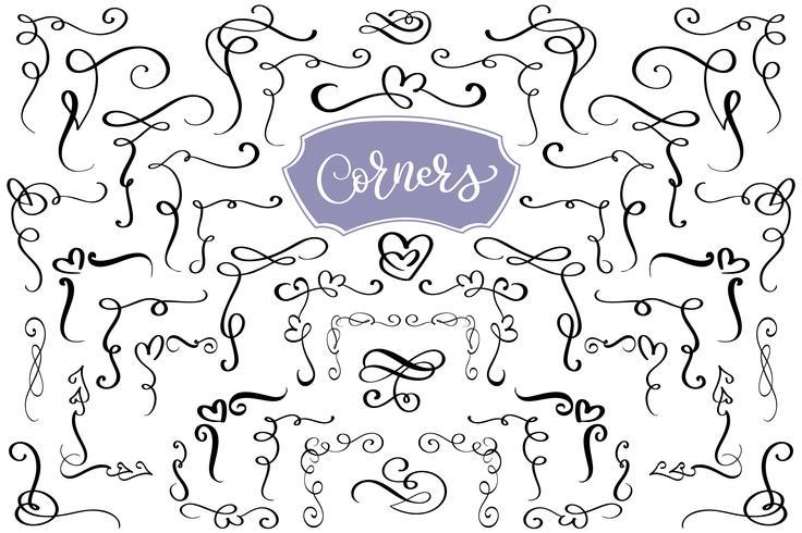 Entregue o redemoinho tirado e floresça cantos do amor na forma de um coração. Elementos de design caligráfico. Ilustração Vintage Vector