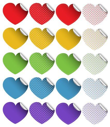 Aufkleberdesign in Herzformen