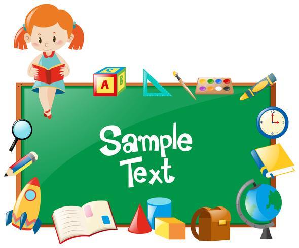 Diseño de marcos con libro de lectura para niña y objetos escolares.