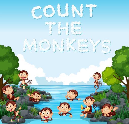 Zähle die Affenvorlage