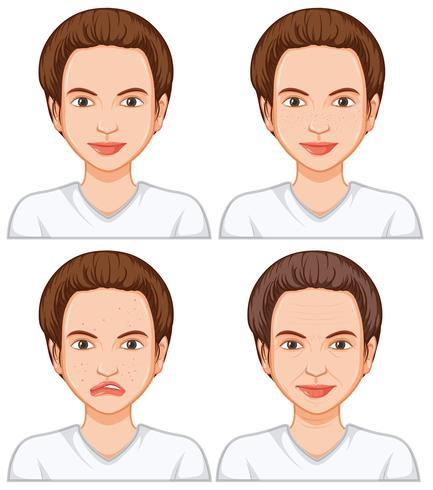 Frau mit unterschiedlicher Gesichtshaut