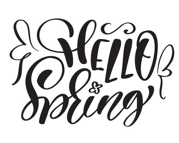 Main de texte vecteur dessiné Bonjour printemps citation de saison de motivation et d'inspiration. Carte calligraphique, mug, superpositions de photos, impression de t-shirt, flyer, conception d'affiche