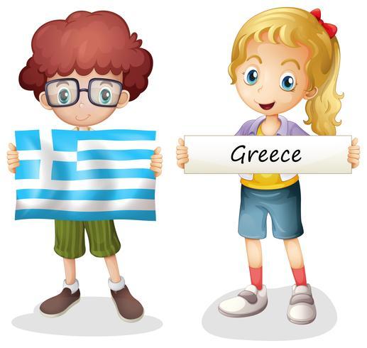 Pojke och flicka med Greklands flagga