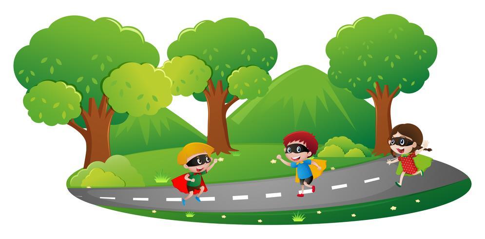 Parkscène met kinderen in heldenuitrusting het spelen