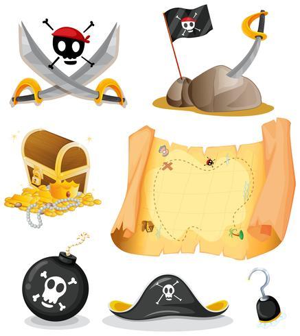 Piraat met kaart en wapens wordt geplaatst die