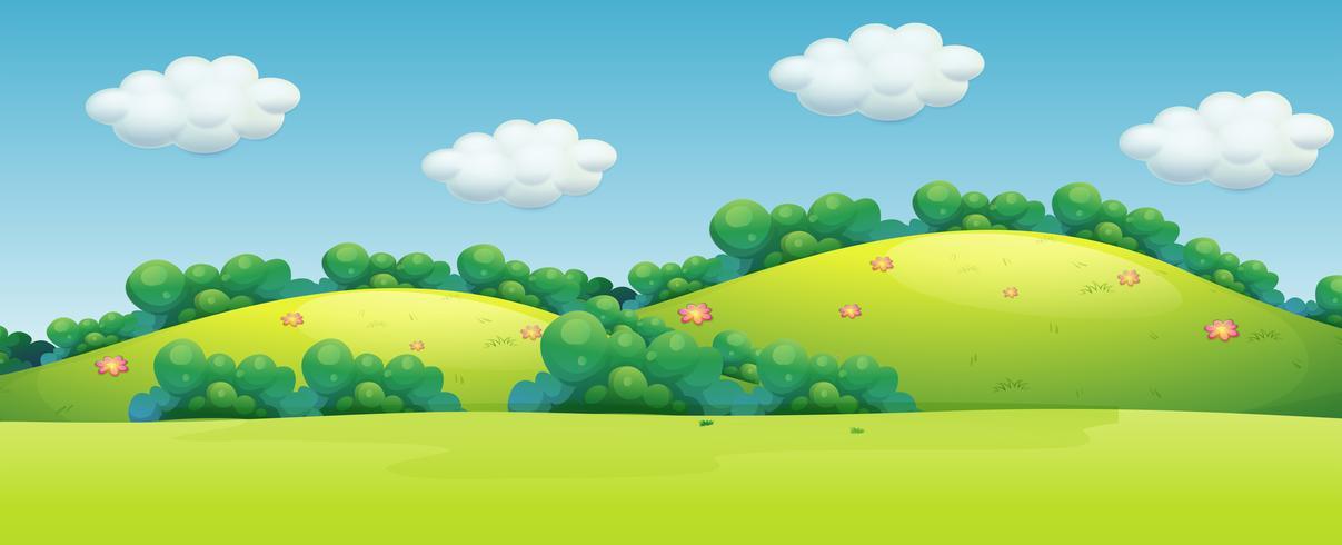 Un hermoso paisaje verde. vector